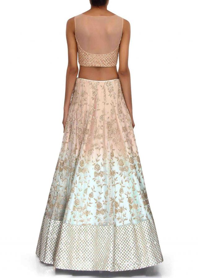 Shaded lehenga in mint and beige enhanced in sequin embroidery only on Kalki