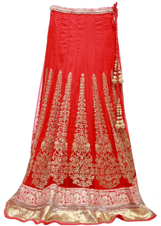 Lehenga featuring in red embellished in kundan only on Kalki