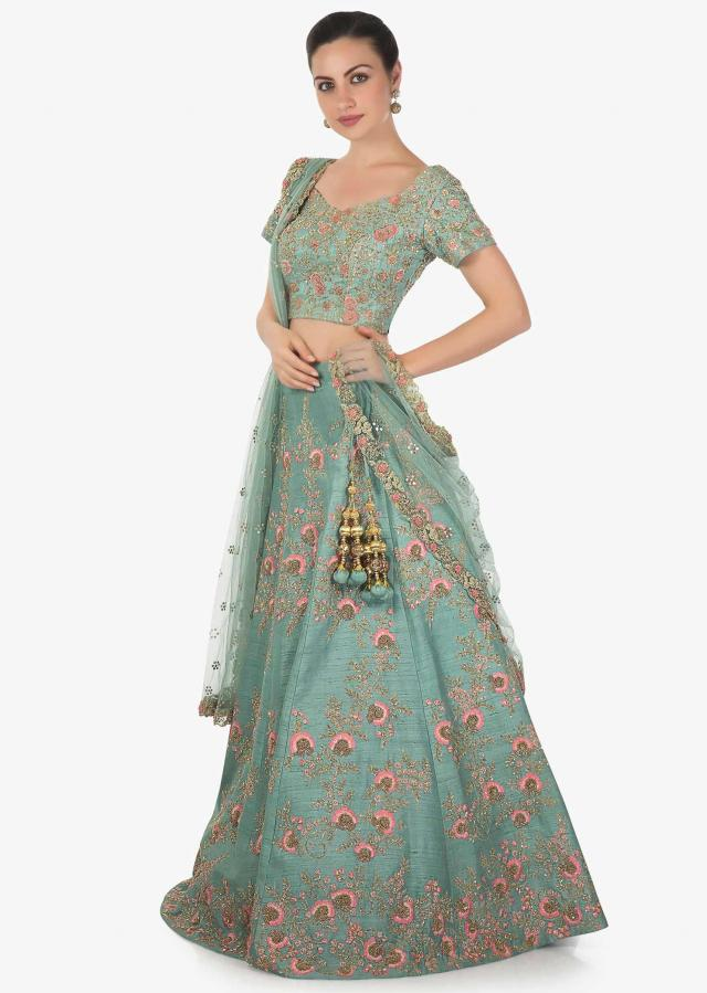 Lehenga set in turq blue raw silk with floral motif embroidery in resham and zardosi only on Kalki