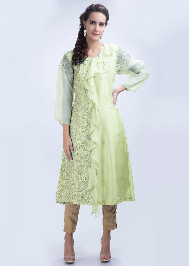 Lemon green raw silk kurti with chiffon frill layer at the center only on Kalki