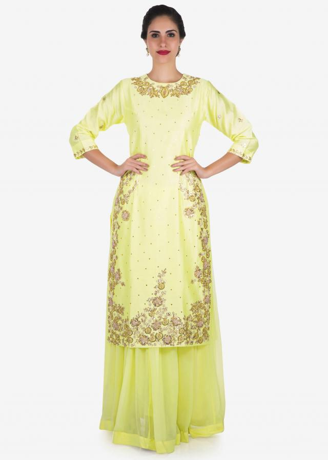 Lemon yellow palazzo suit embellished in gota patti and thread embroidery work only on Kalki