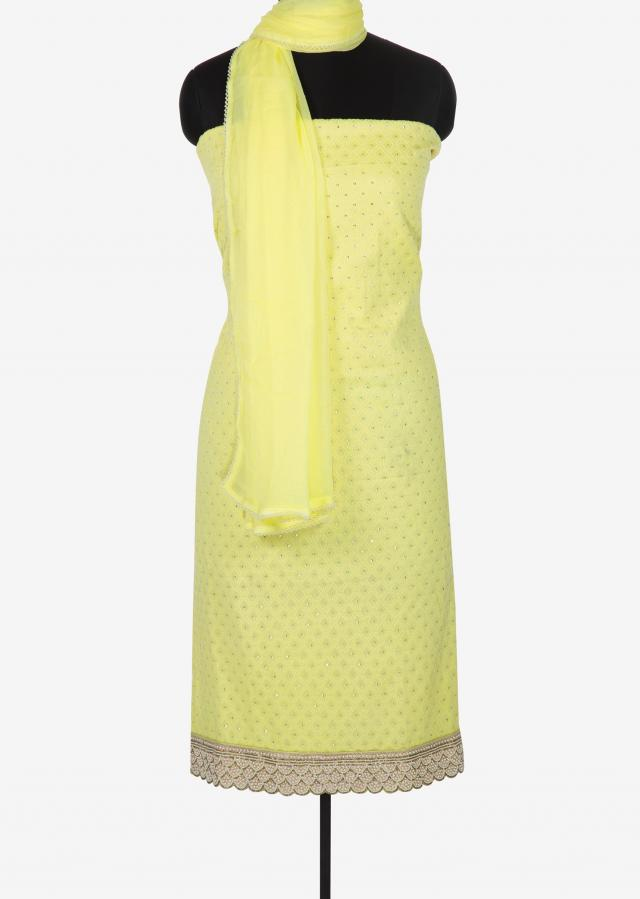 Lemon yellow unstitched suit in georgette studded with sequin and moti embroidery work only on Kalki