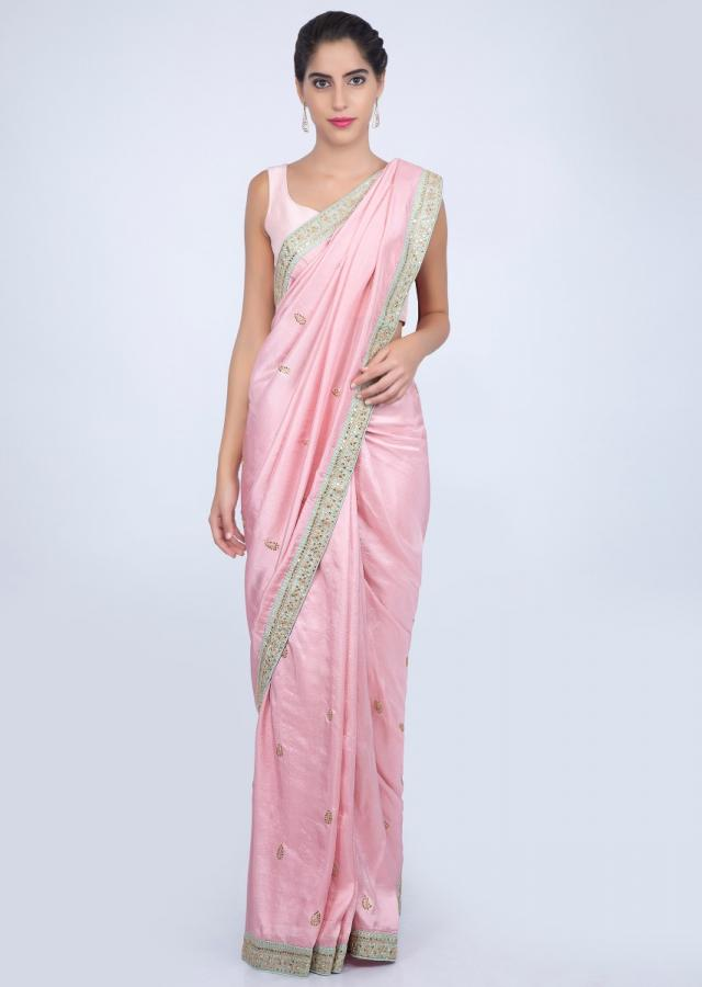 Lemonade pink dupion silk saree with contrasting embroidered border only on kalki