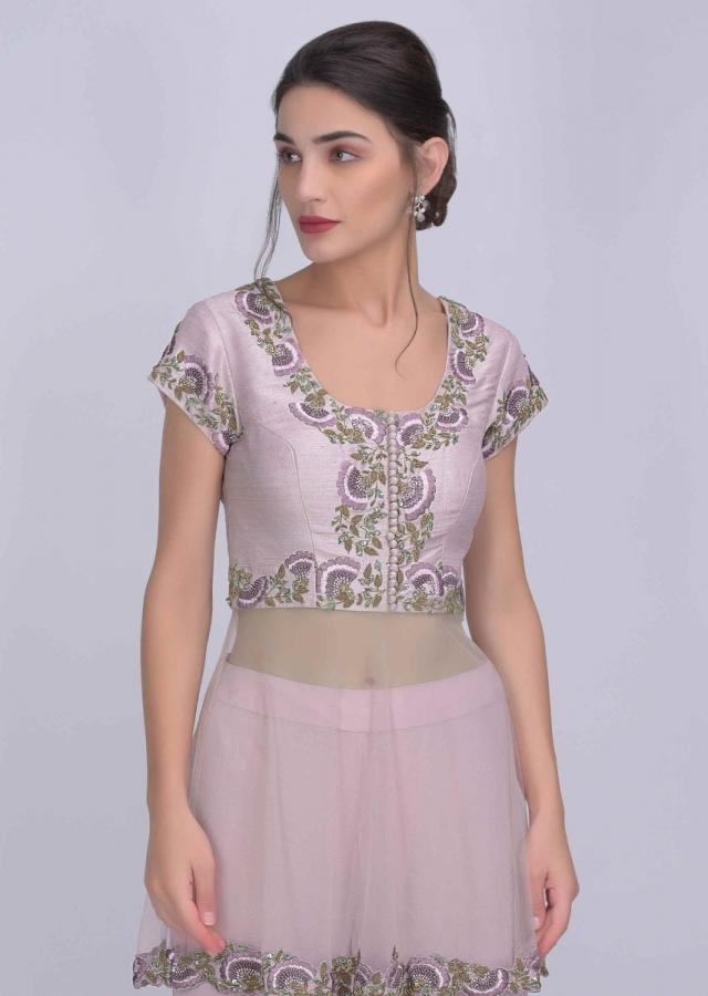 Lemonade Pink Peplum Top Inraw Silk With Tiered Chiffon Sharara And Net Dupatta Online - Kalki Fashion