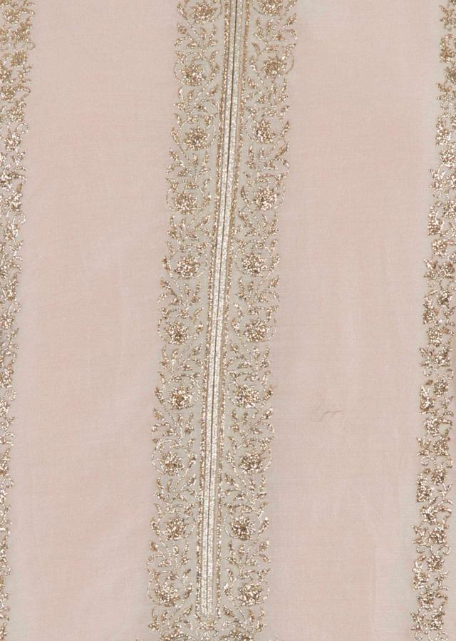 Light beige semi stitched suit in paisley motif in zari only on Kalki