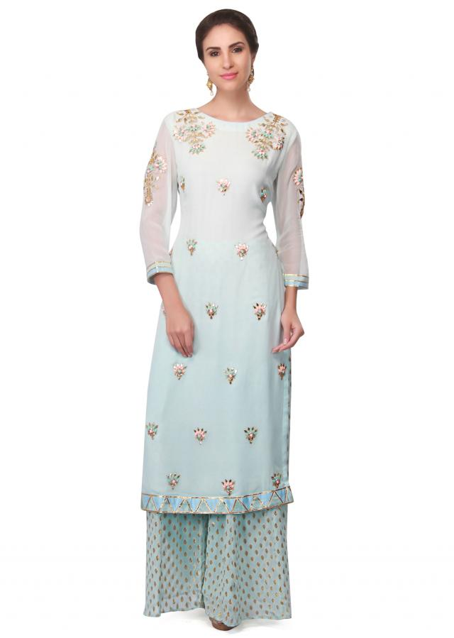 Light Blue Straight Suit Embellished In Resham And Gotta Lace Online - Kalki Fashion