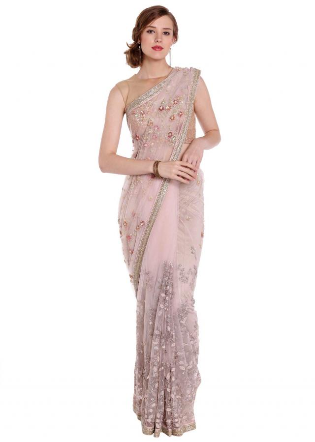 Light cream saree in net with floral applique embroidery only on Kalki
