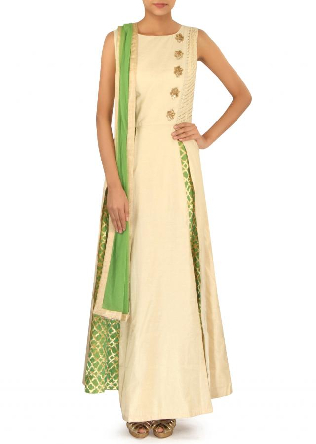 Light gold A line suit adorn in gota and zardosi only on Kalki