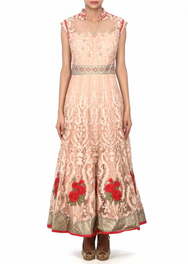 Light peach anarkali suit enhanced in rose motif embroidery only on Kalki