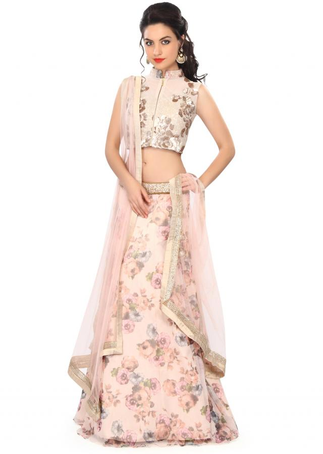 Light peach lehenga embellished in sequin and floral print only on Kalki