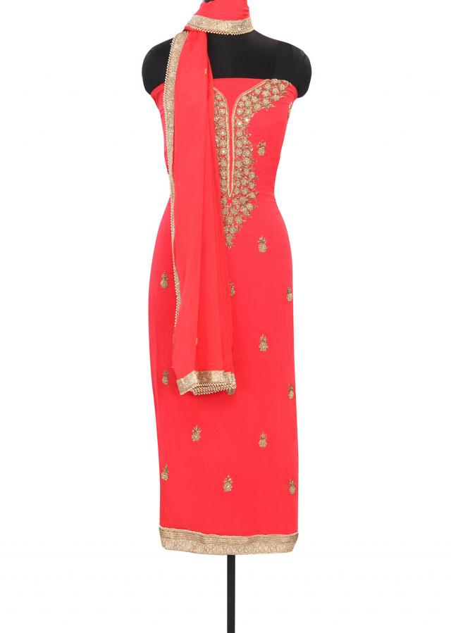 Light peach unstitched suit embellished in mirror and French knot embroidery only on Kalki