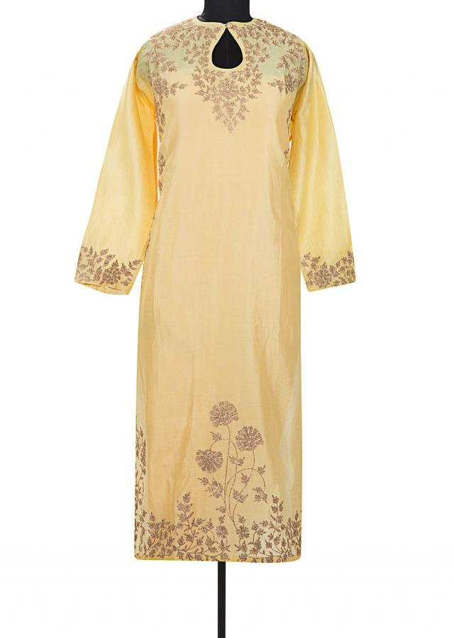 Light yellow semi stitched suit with embroidered yoke only on Kalki