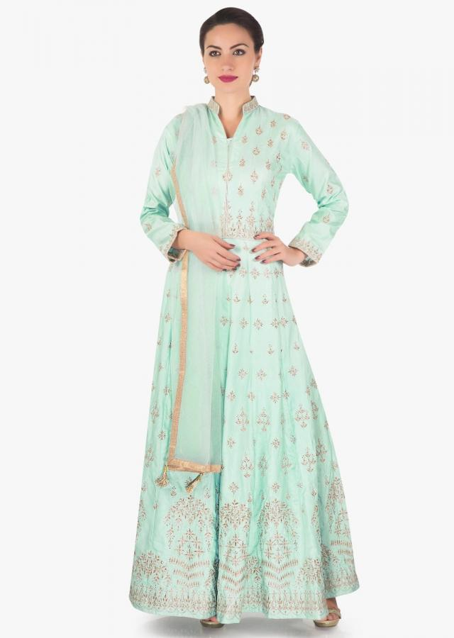 Light blue anarkali suit in raw silk with zari embroidered butti all over only on Kalki