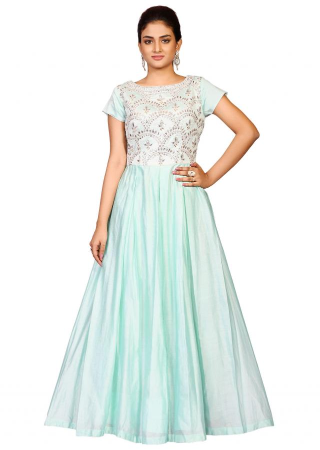 Light blue moti yoke gown in silk featuring the gotta patti embroidery only on Kalki