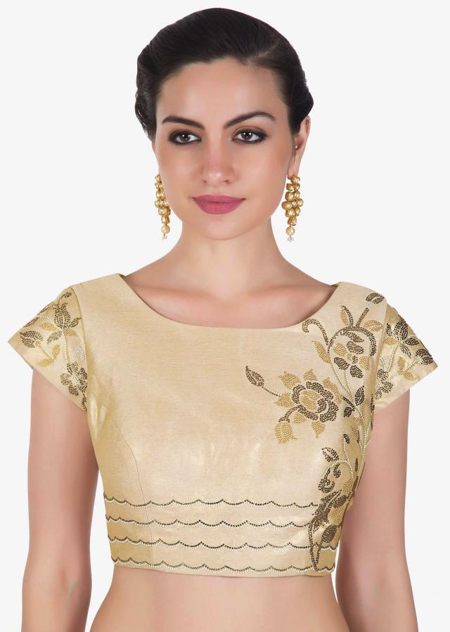 Light gold blouse in shimmer adorn in kundan embroidery only on Kalki