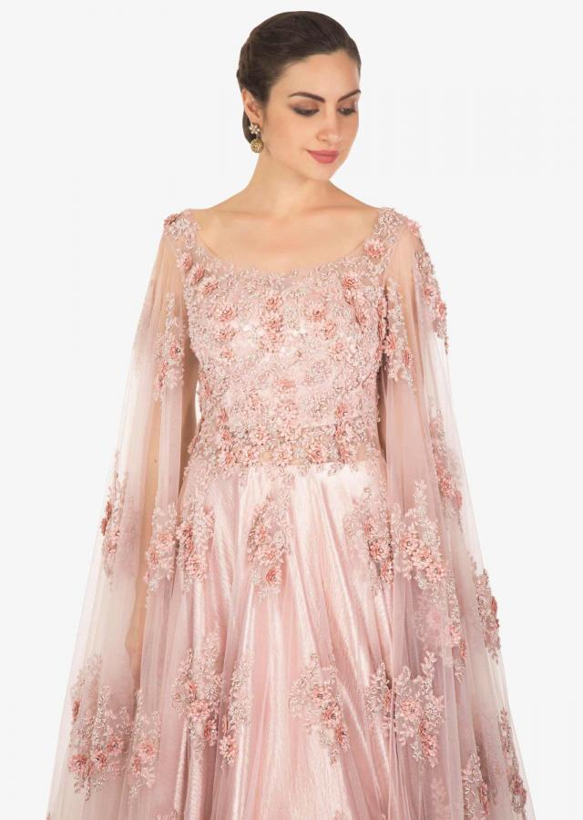 Light lilac pink gown in embroidered net with fancy sleeve only on Kalki
