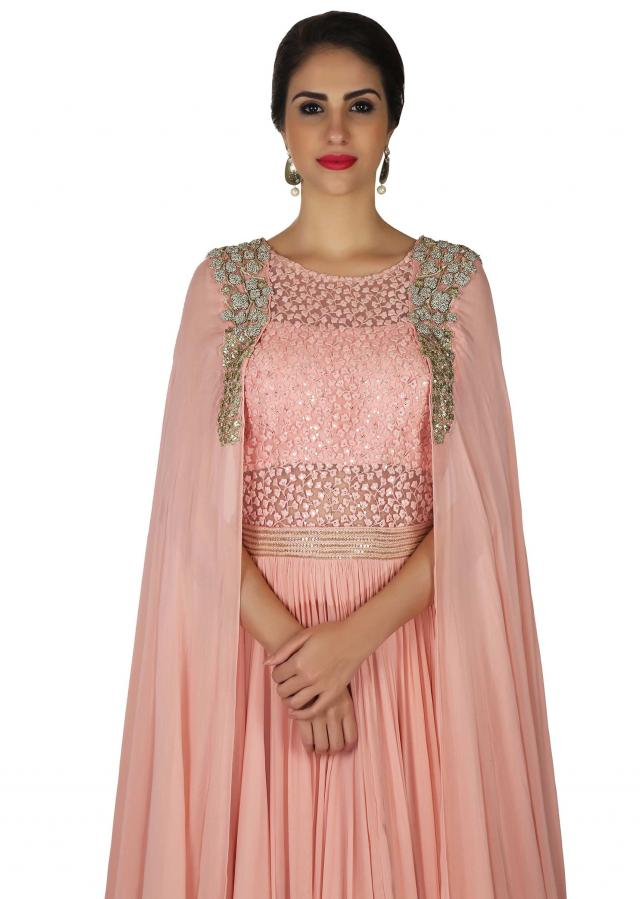 Light peach gown in georgette with embroidered fancy attach cape only on Kalki