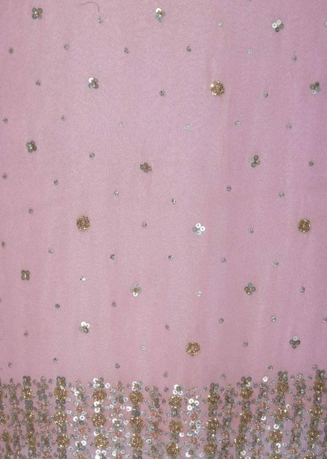 Light pink unstitched suit in foil georgette in sequin only on Kalki