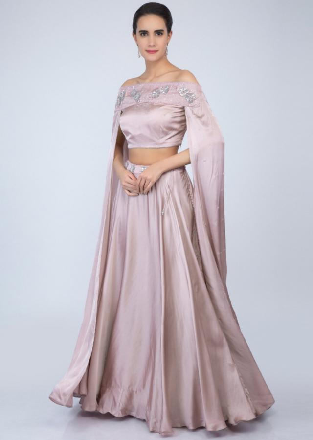 Lilac satin skirt with off shoulder crop top with extended flared sleeves only on Kalki