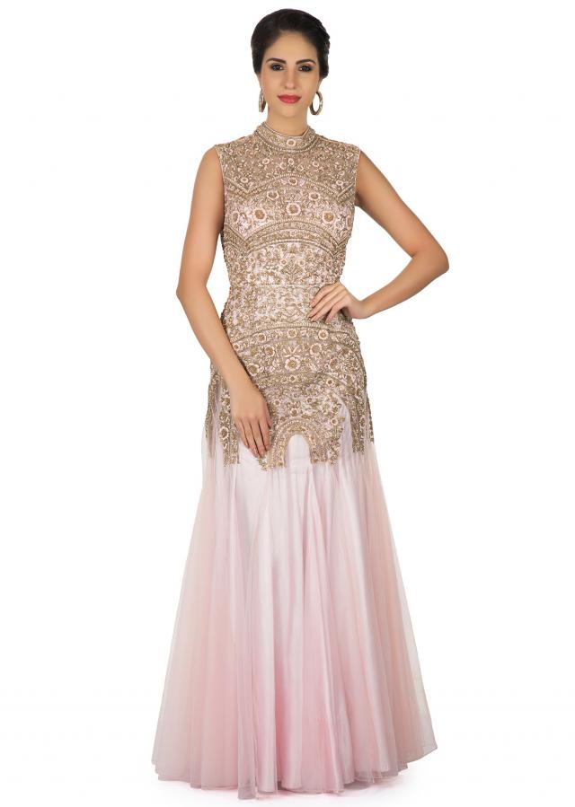 Lilac pink gown in net adorn in resham and zardosi only on Kalki