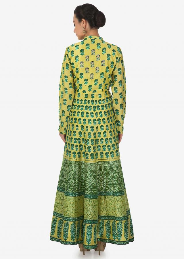 Lime green angarkha suit in print highlighted in zari only on Kalki