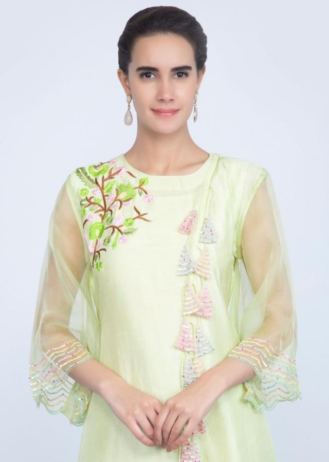 Lime green asymmetric kurti with multi color thread embroidery only on Kalki