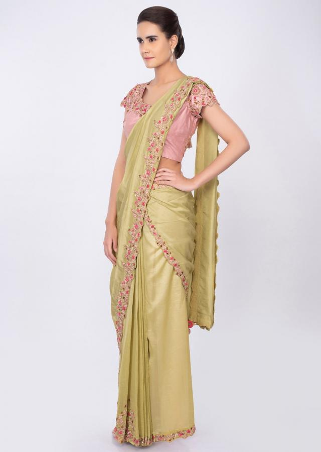 Lime green two piece saree with draped pleats and detached pallo only on kalki