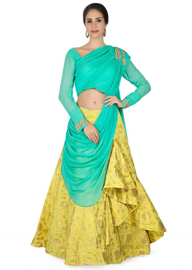 Lime yellow lehenga in brocade silk with fancy draped dupatta and blouse only on Kalki