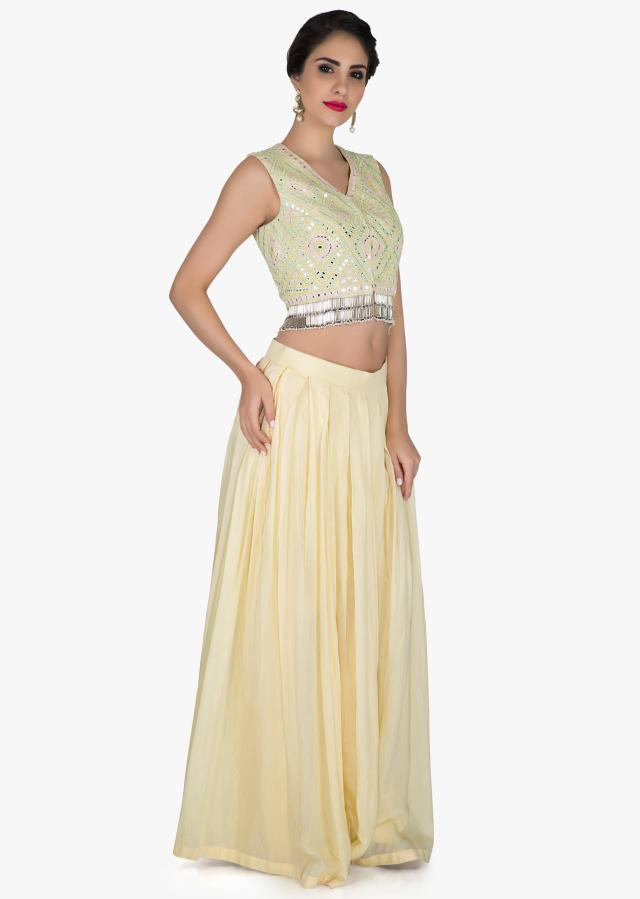 Lime yellow lehenga in cotton silk with light green mirror embroidered blouse only on Kalki