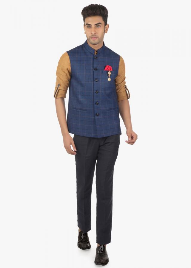 Linen Pant, Shirt and Checked Fancy Fabric Vest Coat Set Only on Kalki