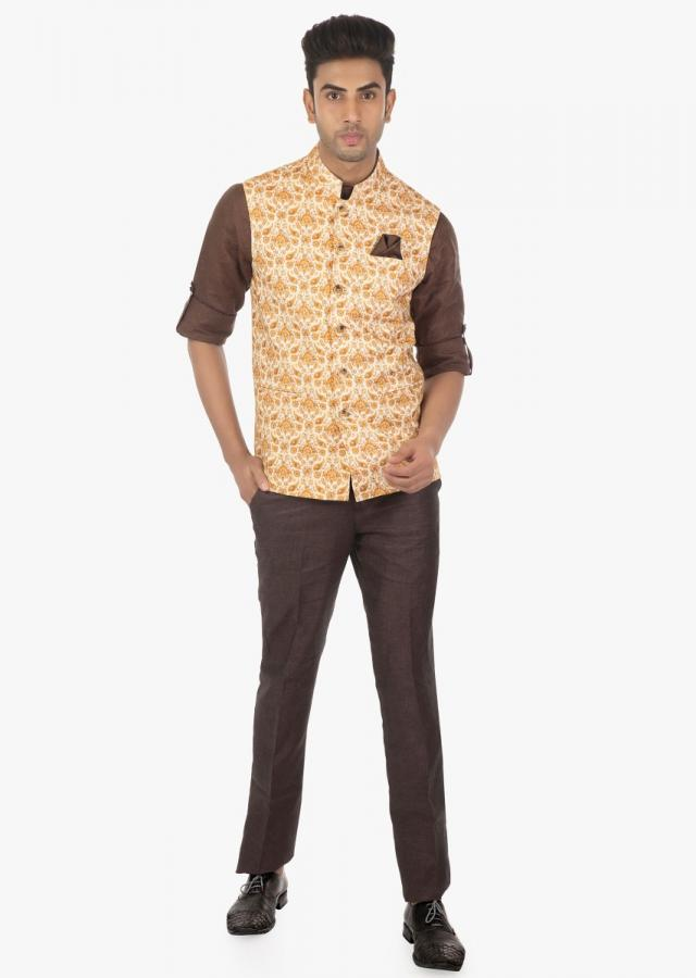 Linen Pant, Shirt and Printed Floral Motif Embellished Vest Coat Set on Kalki