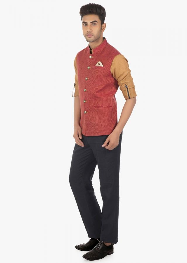 Linen Pant, Shirt and Silk Vest Coat with Stitch Detail on Kalki