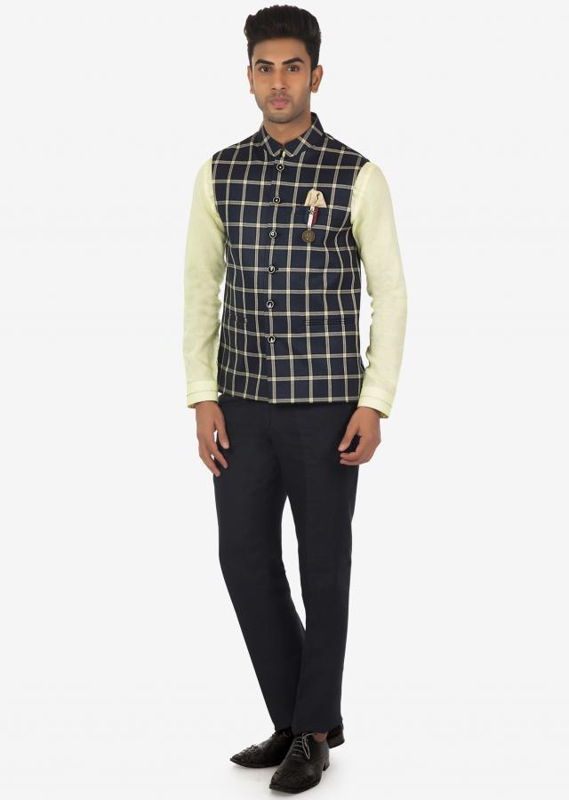 Linen Shirt, Pant and Checked Fancy Fabric Vest Coat Set on Kalki