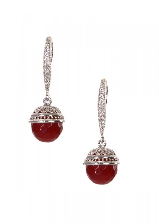 Long hoop earring with ruby stone at end only on Kalki