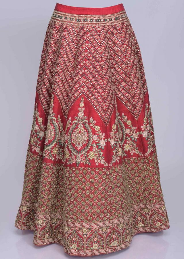 Magenta Lehenga Choli Set In Abla Embroidered Raw Silk With Punch Pink Net Dupatta Online - Kalki Fashion