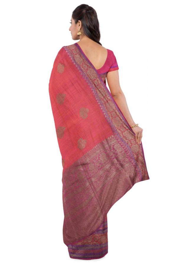 Magenta And Orange Banarasi Saree With Magenta Blouse Piece Online - Kalki Fashion