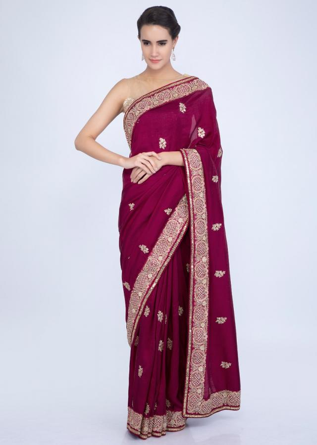 Magenta cotton silk saree with embroidered butti and border only on Kalki