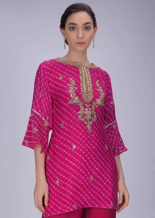 Magenta Suit In Chiffon With Lehariya Print And Embroidery Work With Sharara Bottoms Online - Kalki Fashion