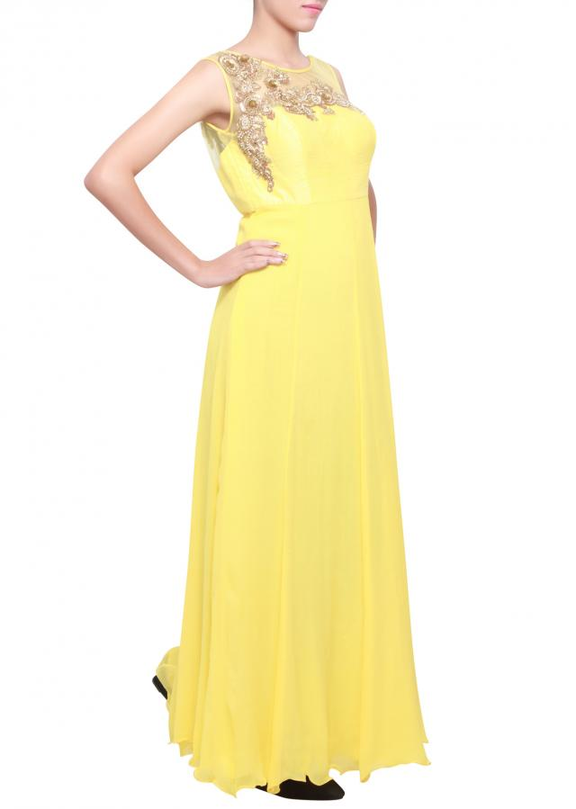 Maize yellow chiffon kurti with embellished yoke in zari and sequence only on kalki