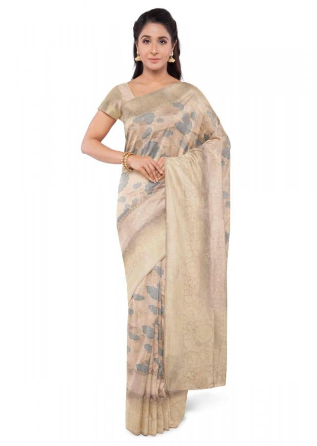Manchester Beige Banarasi Saree With Matching Blouse Piece Online - Kalki Fashion