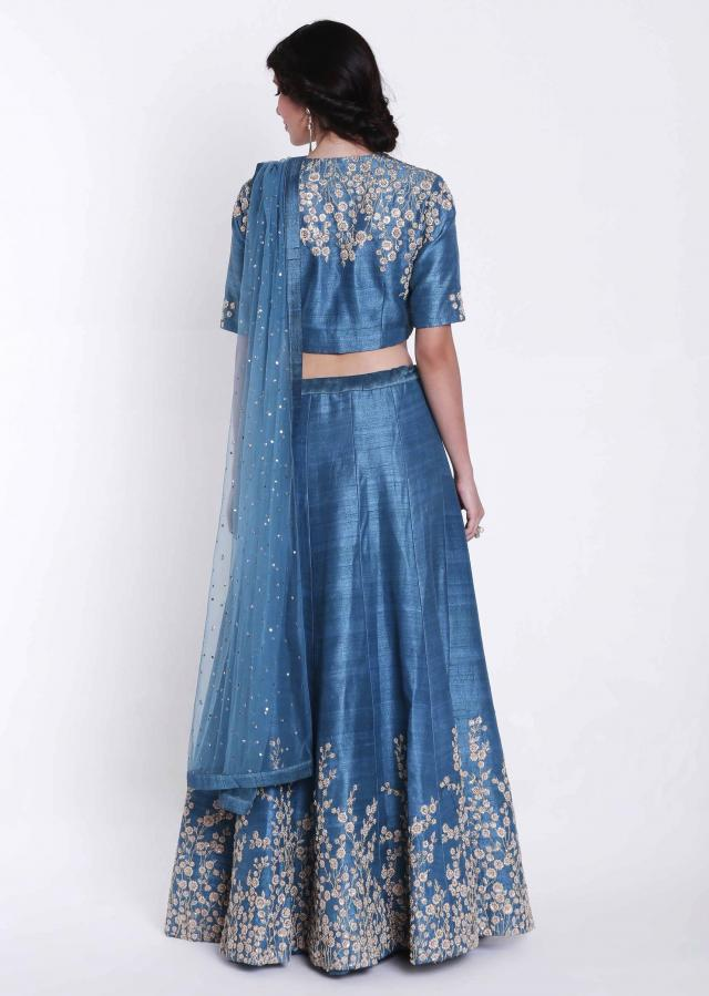 Marine blue lehenga in raw silk with thread and zardosi embroidery only on Kalki