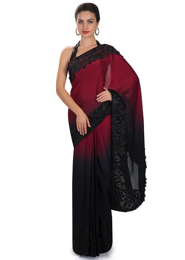 Maroon and blue satin saree with 3D flower, resham and sequin work only on Kalki