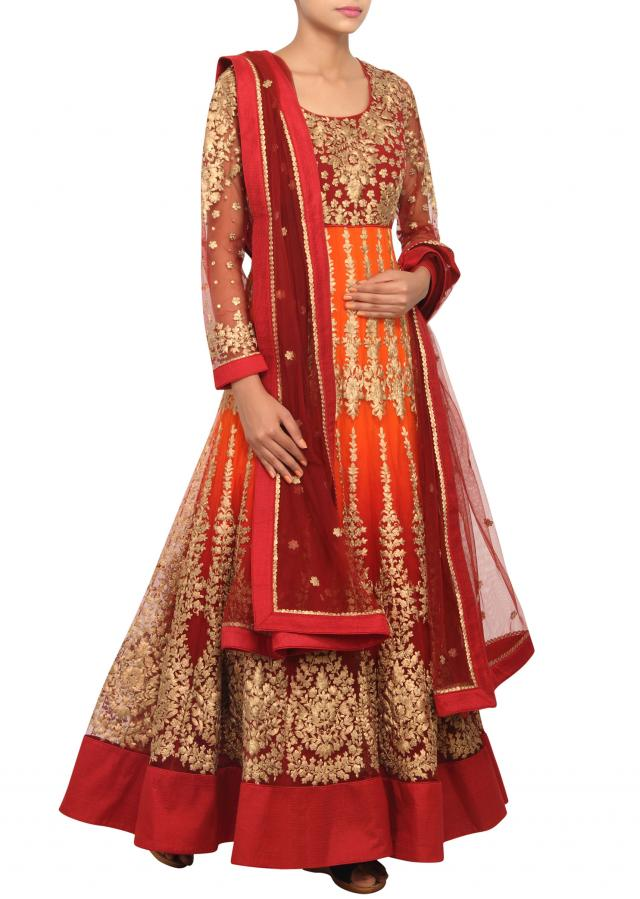 Maroon and orange ombre anarkali with zari embroidery only on Kalki