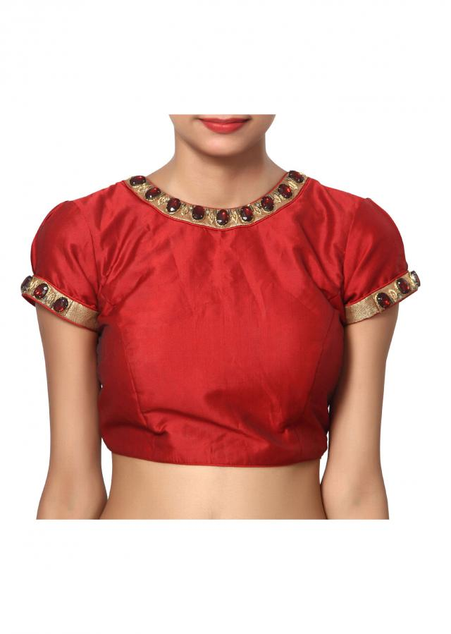 Maroon Bengal silk with classic Gold and maroon stone blouse