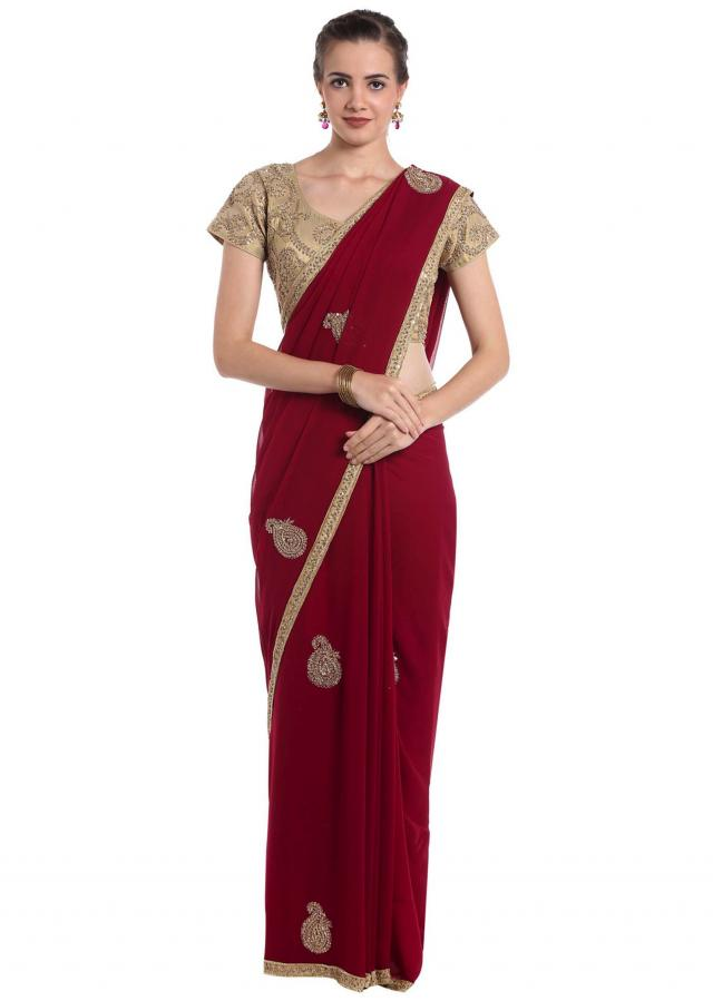 Maroon georgette saree with cut dana and sequin work only on Kalki