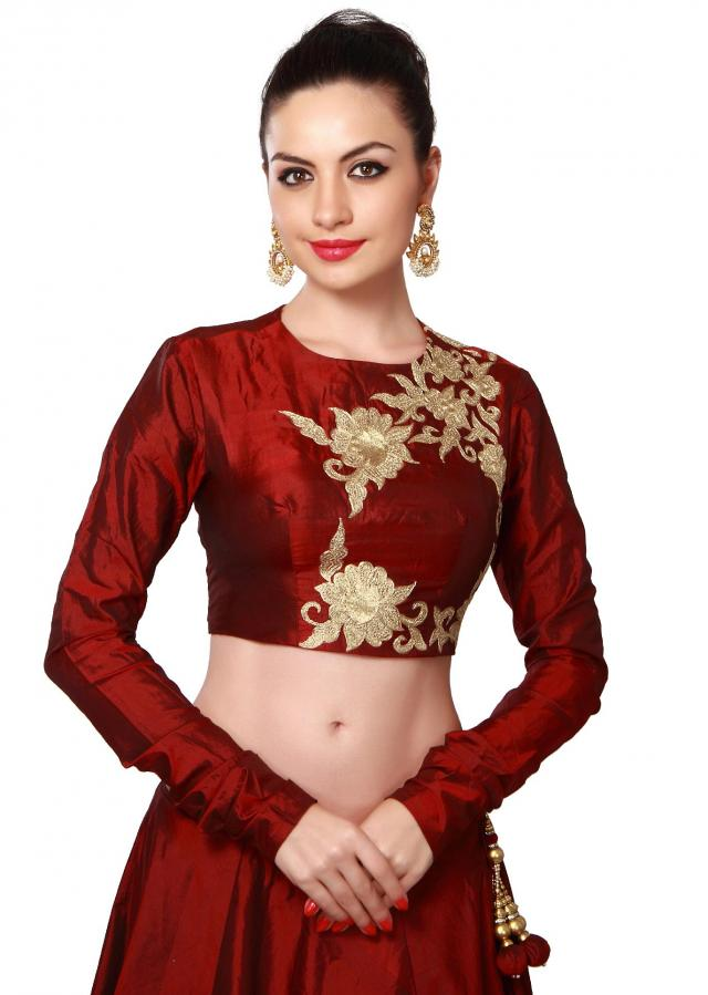 Maroon lehenga adorn in zari embroidery only on Kalki