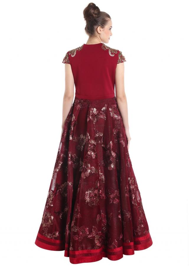 Maroon net and raw silk gown with applique work only on Kalki