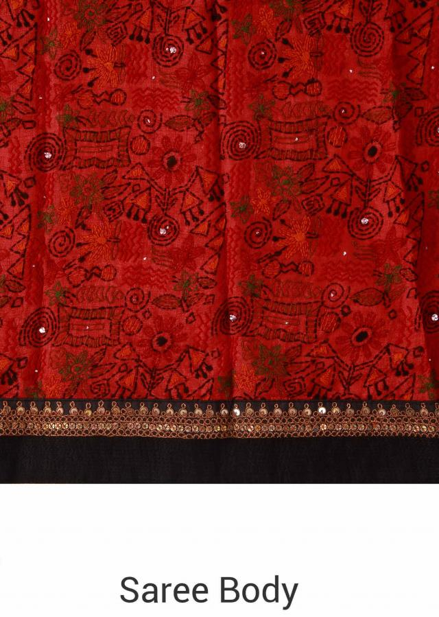 Maroon saree adorn in thread embroidery all over only on Kalki