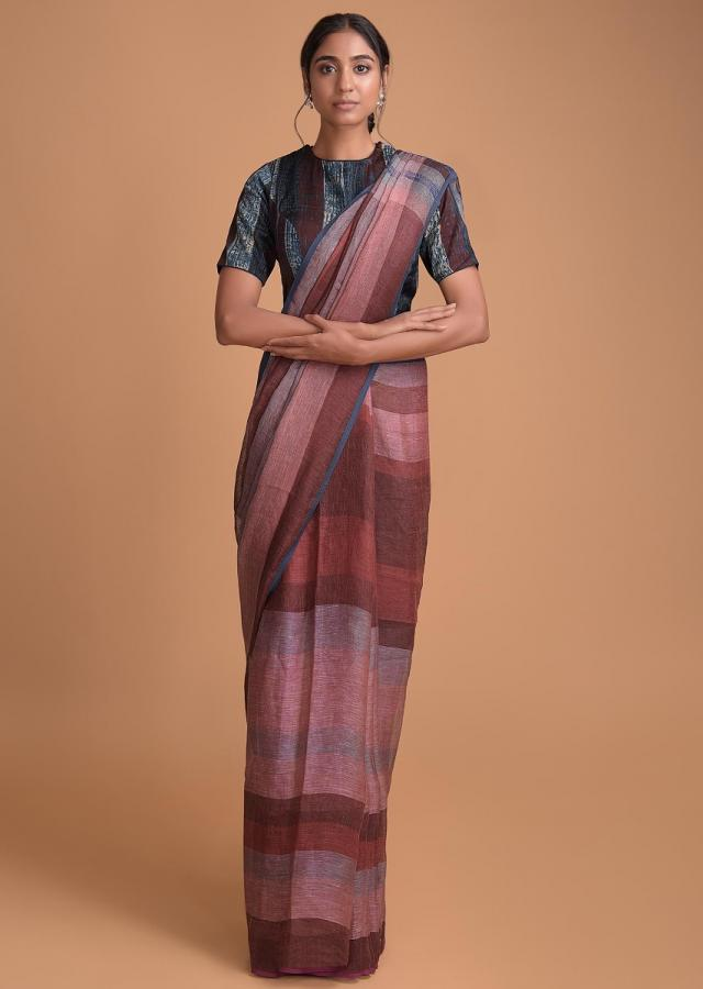 Maroon Saree In Jute Cotton In Striped Pattern And Maroon And Blue Blouse Online - Kalki Fashion
