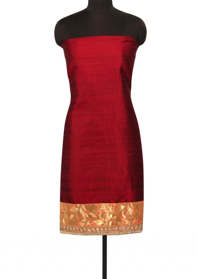 Maroon unstithced suit in brocade silk only on Kalki